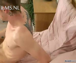 Tattooed British lad wanking for the camera