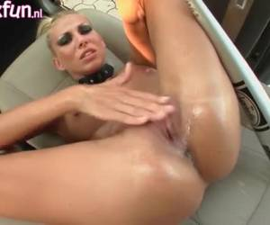 Hot slut fist fucked in her own pussy