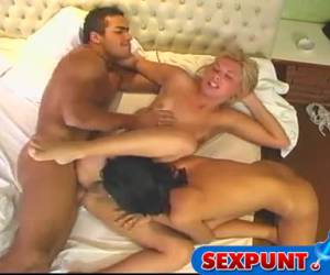 A tranny threesome word his ass fucked and his dick blowjob