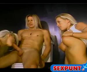 The horny blonde wanna say her boyfriend while her sister is in his balls and squeeze